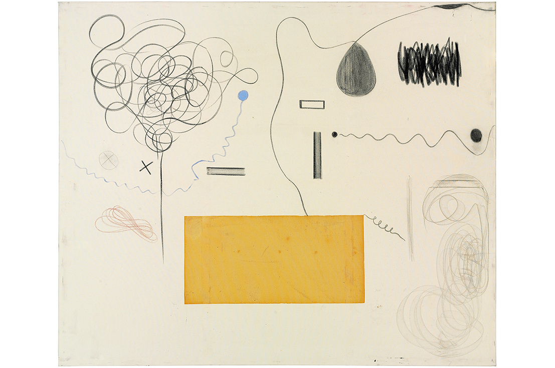 Christian Rosa (b. Brazil, 1982) Untitled. 2013. Oil Stick and graphite on canvas. 78 3/4 x 94 1/2 inches